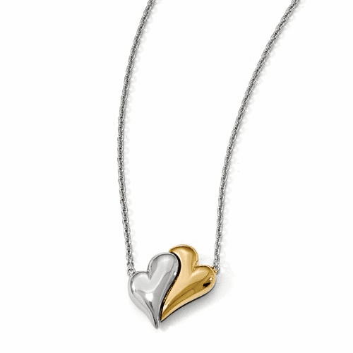 Silver  Gold-plated Magnetic Double Heart Adjustable Necklace QPA106