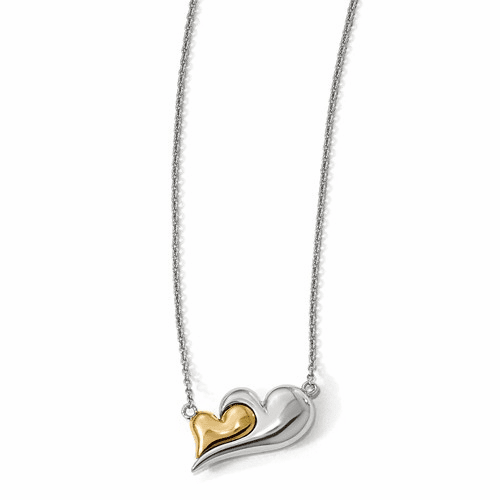 Silver  Gold-plated Magnetic Double Heart Adjustable Necklace QPA107