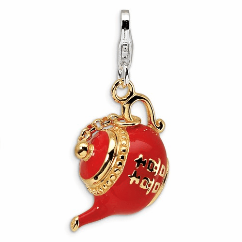 Silver Gold-plated Red Enameled Tea Pot W/lobster Clasp Charm