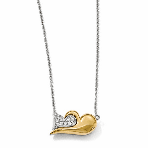 Silver  Gold-plated W/sapphire Magnetic Heart Adj Necklace QPA108