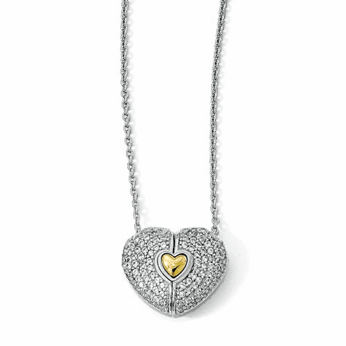 Silver Gold-plated W/sapphire Magnetic Heart Adjustable Necklace