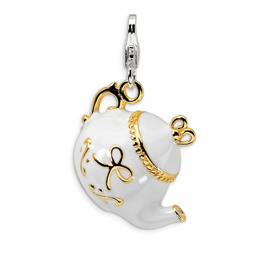 Silver Gold-plated Whiadultameled Tea Pot W/lobster Clasp Charm