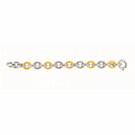 Silver/Gold Rhodium Italian Cable Link Necklace with Spring Ring Clasp