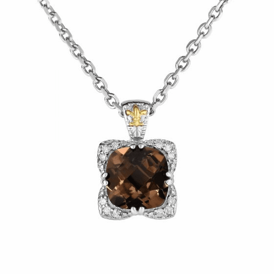 Silver/Gold Smokey Quartz & Diamond Candy Pendant on 18 Inch Chain