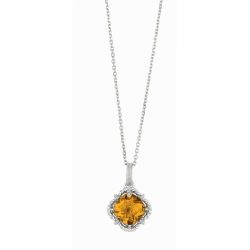 Silver/Gold Whisky Quartz & Diamond Woven Pendant on 18 Inch Chain