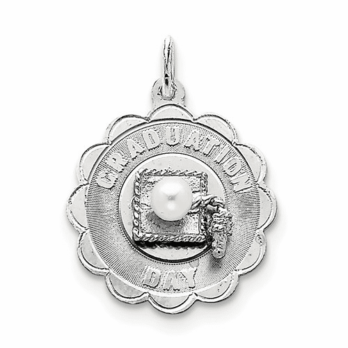 Silver Graduation Day Disc With Fw Cultured Pearl Charm