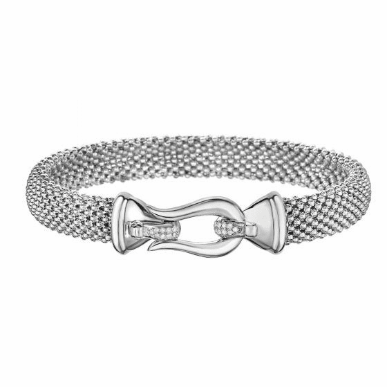 Silver Horsebit Medium Popcorn Mesh Bracelet with Diamonds