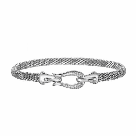 Silver Horsebit Thin Popcorn Mesh Bracelet with Diamonds