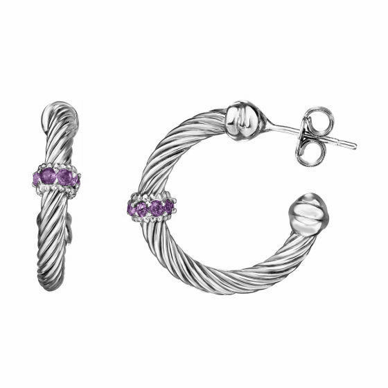 Silver Italian Cable Large Hoop Earrings with Amethyst