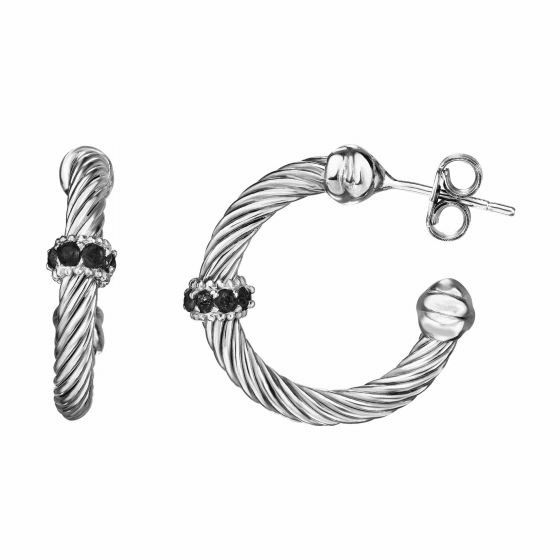 Silver Italian Cable Large Hoop Earrings with Black Spinel