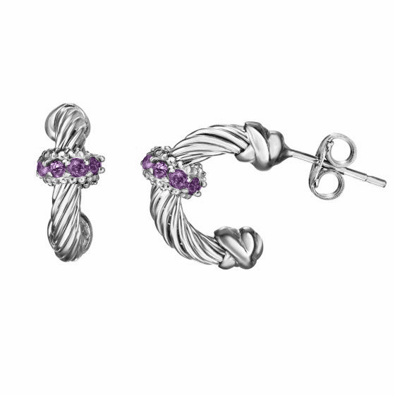 Silver Italian Cable Small Hoop Earrings with Amethyst