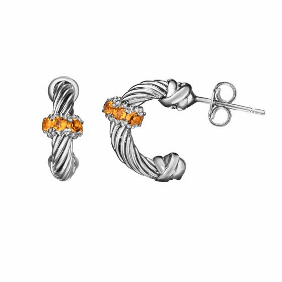 Silver Italian Cable Small Hoop Earrings with Citrine