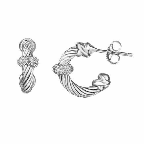 Silver Italian Cable Small Hoop Earrings with Diamond