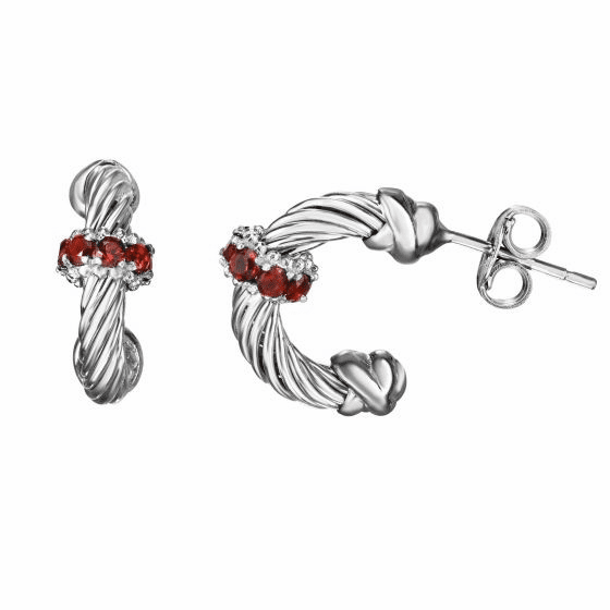 Silver Italian Cable Small Hoop Earrings with Garnet