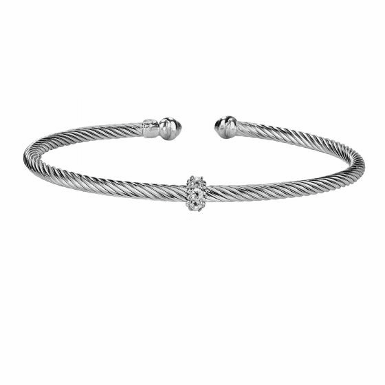 Silver Italian Cable Stackable Bangle with Blue Topaz