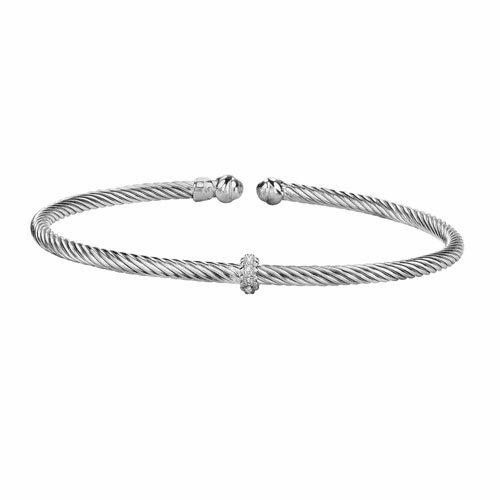 Silver Italian Cable Stackable Bangle with Diamonds