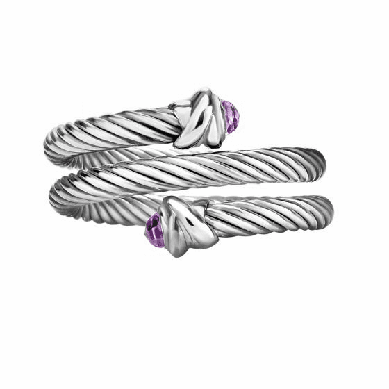 Silver Italian Cable Wrap Bypass Ring with Amethyst