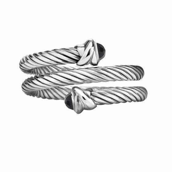 Silver Italian Cable Wrap Bypass Ring with Black Spinel