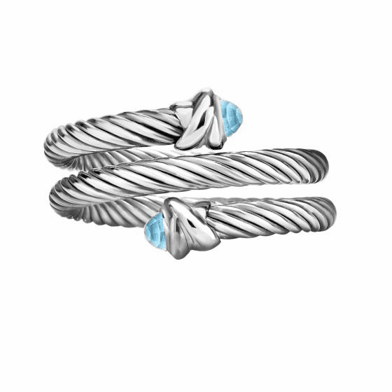 Silver Italian Cable Wrap Bypass Ring with Blue Topaz