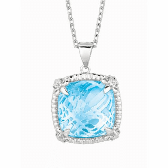 Silver Large Blue Topaz & White Sapphire Pendant On 18 Inch Chain