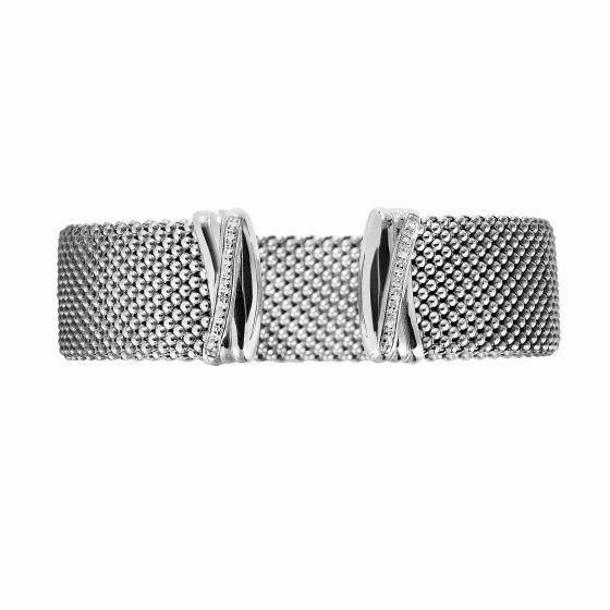 Silver Large Flat Popcorn Cuff Bangle with Diamonds