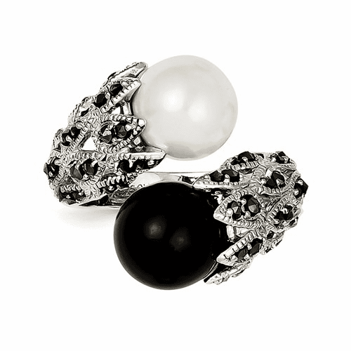 Silver Marcasite Black And White Fw Cultured Pearl Ring