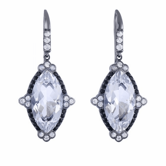 Silver Marquis Crystal Quartz, Black & White Sapphire Drop Earrings