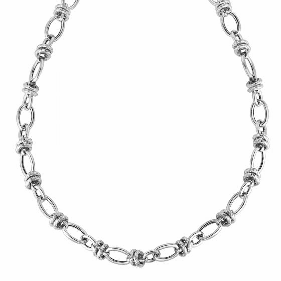 Silver Medium Combined Oval Links Italian Cable Necklace