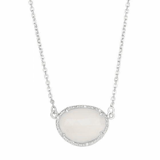 Silver Oval Diamonds Pendant with Large Moonstone on 17 Inch Chain