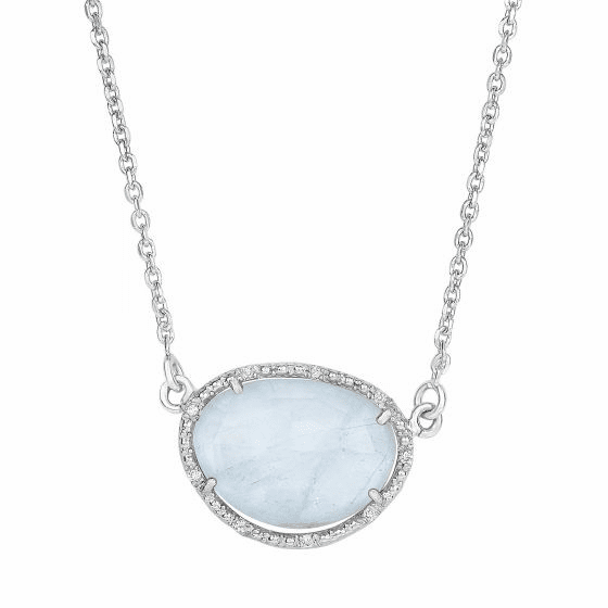 Silver Oval Diamonds Sideways Milky Aqumarine Pendant on 17 Inch Chain