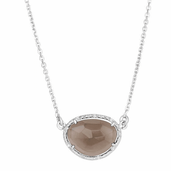 Silver Oval Diamonds Sideways Smokey Quartz Pendant on 17 Inch Chain