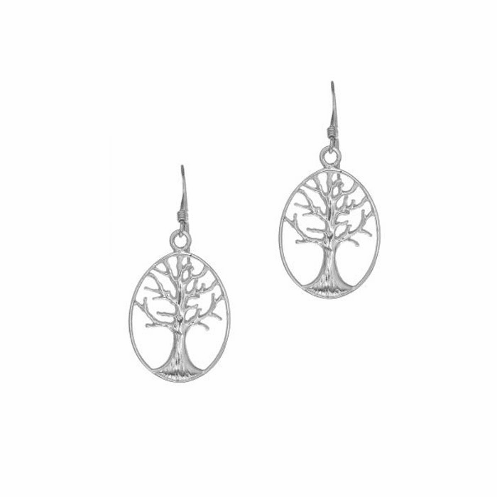 Silver Oval Drop Earring with Tree Of Life within French Wire Clasp
