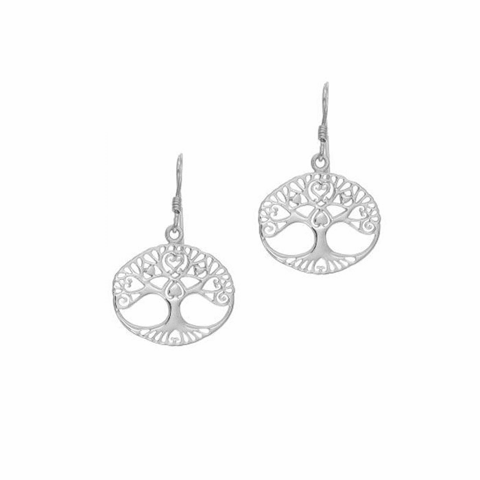 "Silver Oval Tree Of Life Stencil Design ""J"" Hook Drop Earring"