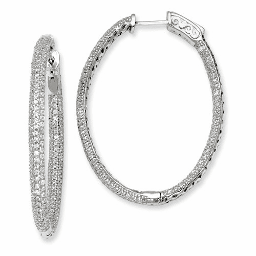 Silver Pave Rhodium-plated Cz Hinged Oval Hoop Earrings