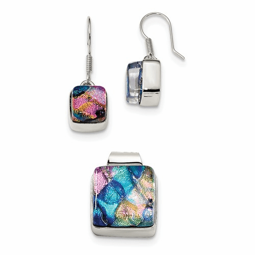 Silver Pink & Blue Dichroic Glass Square Earrings