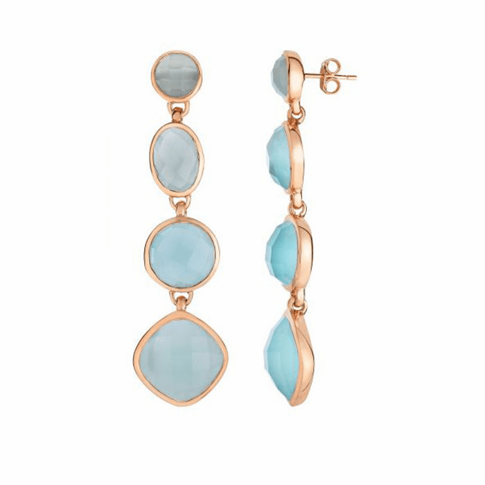 Silver/Pink Drop Earring with Aqua Chalcedony-Checker Cut - PGPER4991