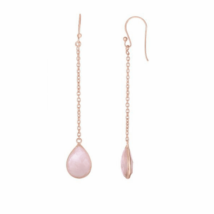 Silver/Pink Drop Earring with Euro Wire Clasp with Rose Quartz-Brolite