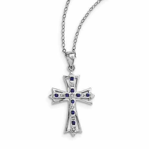 Silver & Platinum-plated Dia. & Sapphire 18in Cross Necklace