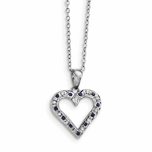 Silver & Platinum-plated Dia. & Sapphire 18in Heart Necklace