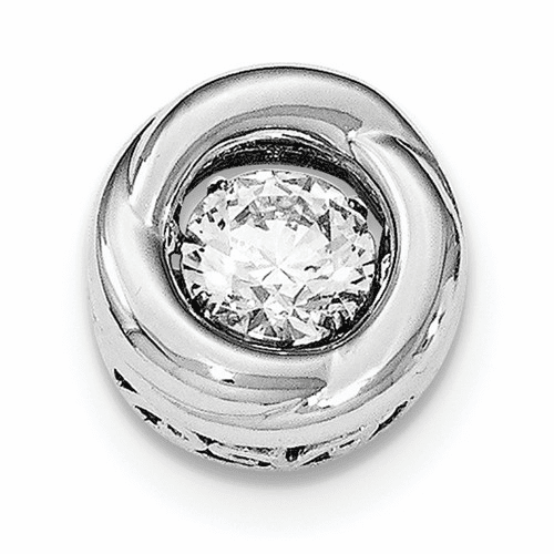 Silver Platinum-plated Polished Vibrant Cz Circle Pendant