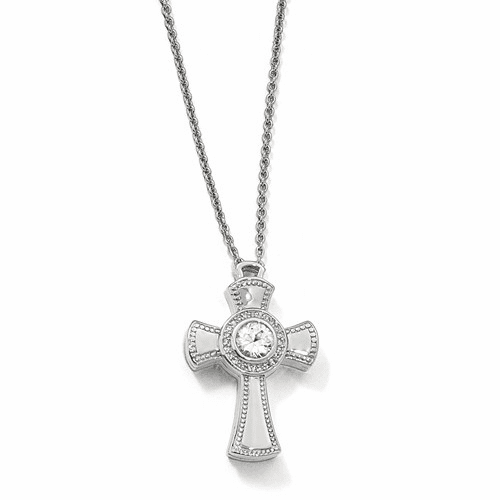Silver Polished W/sapphire Magnetic Cross Adjustable Necklace QPA124