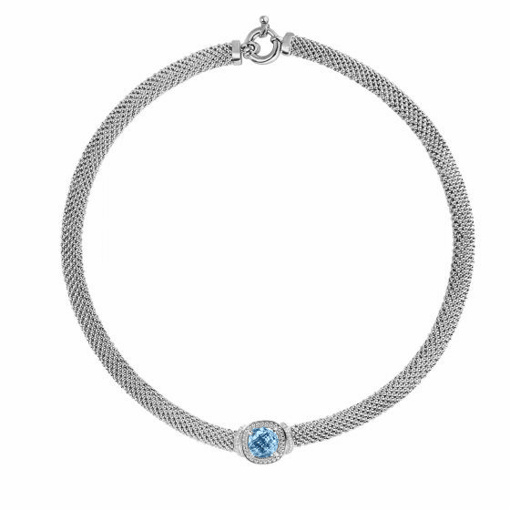 Silver Popcorn 17 Inch Necklace with Diamonds & Cushion Cut Blue Topaz