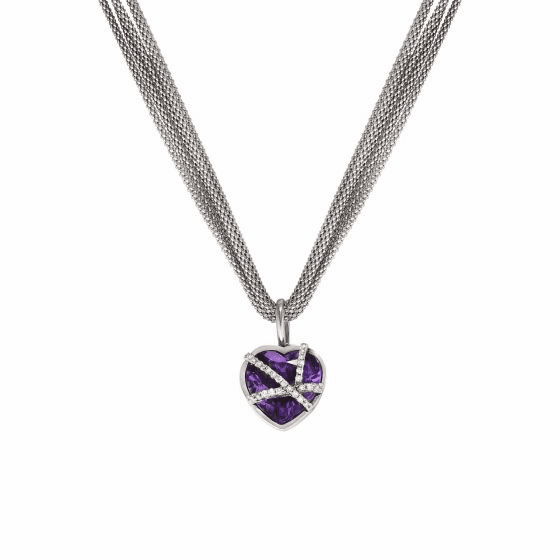 Silver Popcorn Amethyst Diamond Necklace on 17 Inch Multi-String Chain