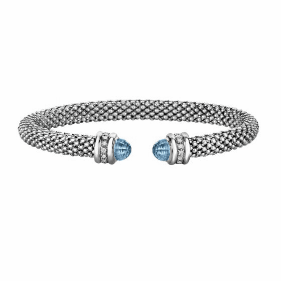 Silver Popcorn Bangle with Diamonds and Blue Topaz