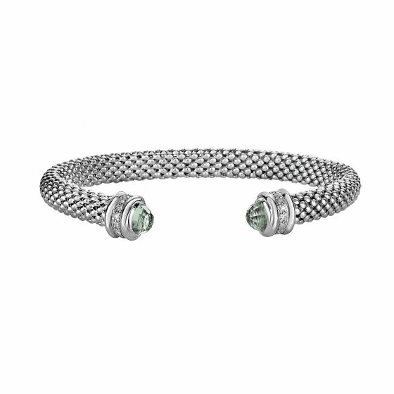 Silver Popcorn Bangle with Diamonds and Green Amethyst