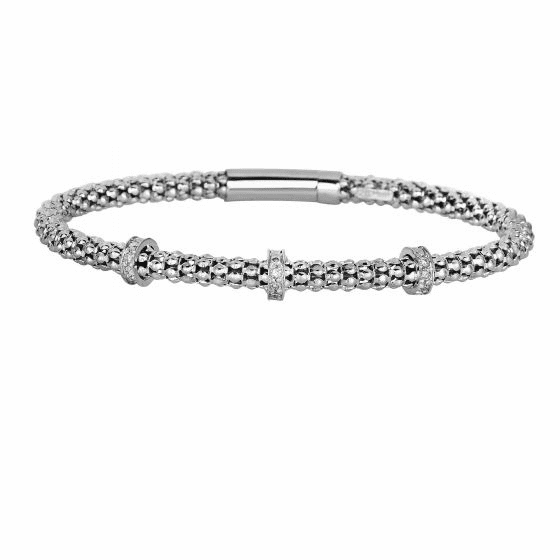 Silver Popcorn Bracelet with 3-Diamond Stations