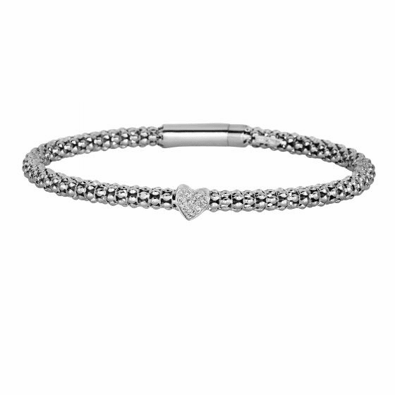 Silver Popcorn Bracelet with Diamond Heart Element