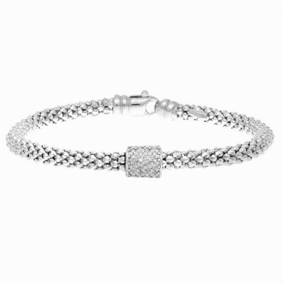Silver Popcorn Bracelet with Diamond Station Barrel