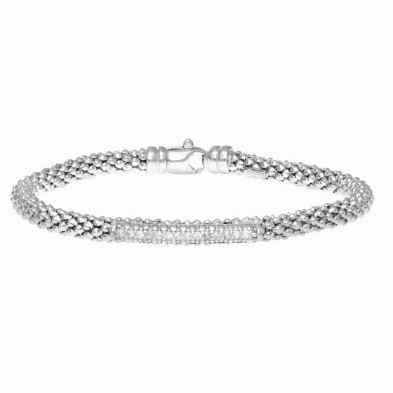 Silver Popcorn Bracelet with Long Diamond Station Bar