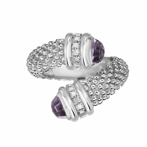 Silver Popcorn Bypass Ring with Diamonds and Amethyst